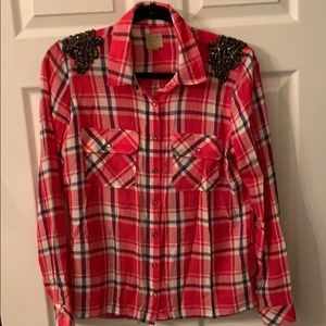 GUESS checkered shirt with embellished shoulders